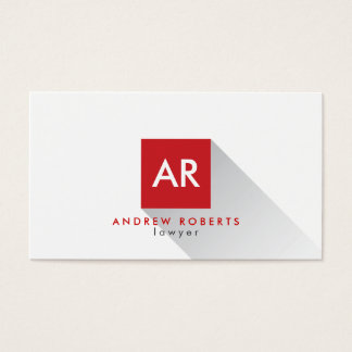 Monogram White Red Square Sleek Business Card