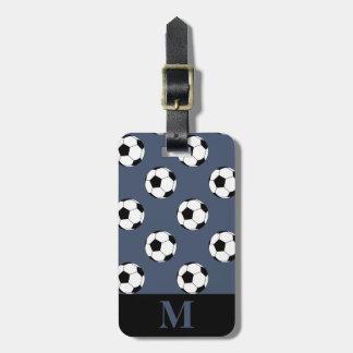 Monogram White Soccer Football Balls, Blue Jeans Luggage Tag