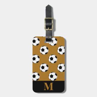 Monogram White Soccer Football Balls, Matte Gold Luggage Tags