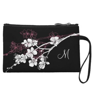 Monogram White Spring Blossoms on Acai Pink Wristlet Clutches