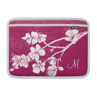 Monogram White Spring Blossoms on Acai Pink MacBook Air Sleeves