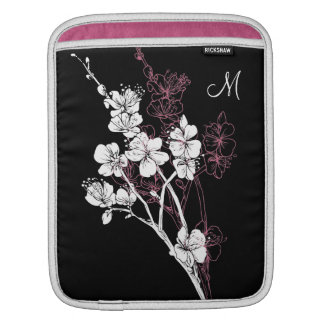 Monogram White Spring Blossoms on Acai Pink Sleeves For iPads