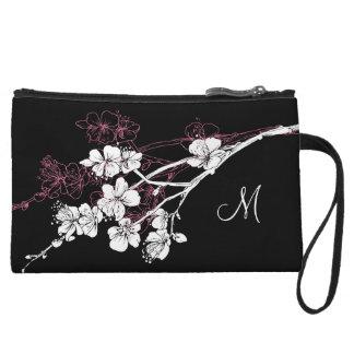 Monogram White Spring Blossoms on Acai Pink Wristlet Clutch