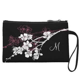 Monogram White Spring Blossoms on Acai Pink Wristlet Wallet