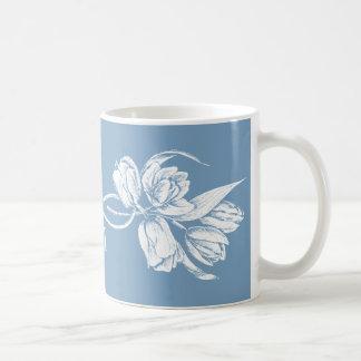 Monogram White Tulips on Dusk Blue Classic White Coffee Mug
