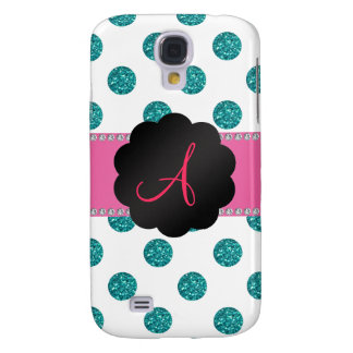 Monogram White turquoise glitter polka dots Galaxy S4 Cover