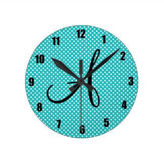 Monogram white turquoise polka dots wall clocks
