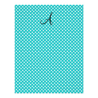 """Monogram white turquoise polka dots 8.5"""" x 11"""" flyer"""