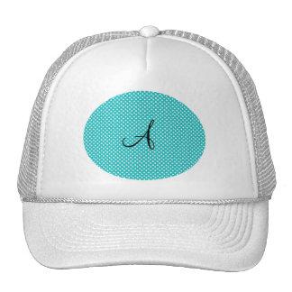 Monogram white turquoise polka dots trucker hat
