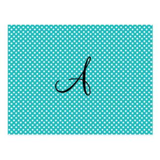 Monogram white turquoise polka dots post card