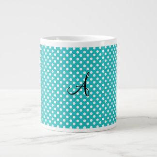 Monogram white turquoise polka dots 20 oz large ceramic coffee mug