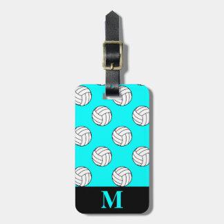 Monogram White Volleyball Balls, Aqua Blue Luggage Tag