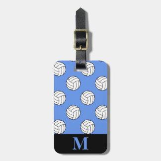 Monogram White Volleyball Balls, Cornflower Blue Luggage Tag