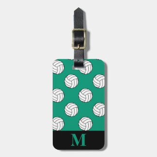 Monogram White Volleyball Balls, Emerald Green Tag For Luggage