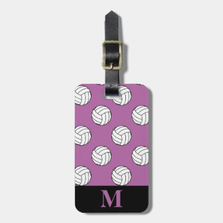 Monogram White Volleyball Balls, Radiant Orchid Luggage Tag