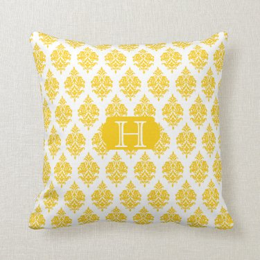 Monogram,White,Yellow,Damask Pattern Throw Pillow