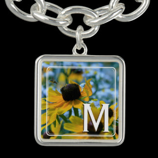 Monogram Wildflower Yellow Daisies Personalized Charm Bracelet