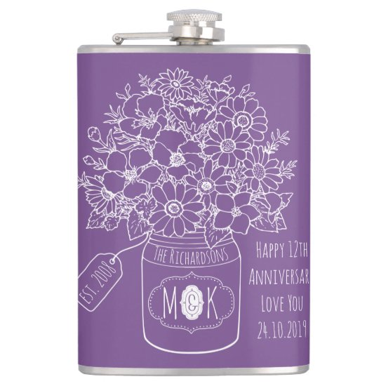 Monogram Wildflowers Bouquet Hand-Drawn Mason Jar Hip Flask