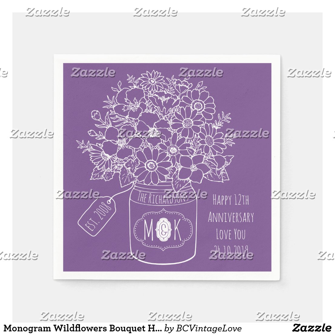 Monogram Wildflowers Bouquet Hand-Drawn Mason Jar Napkin