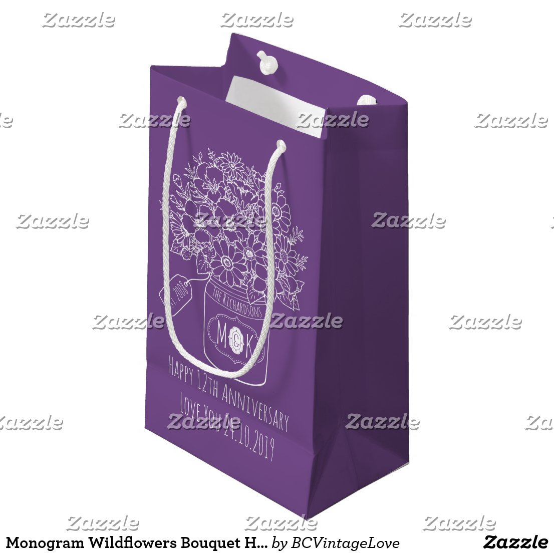Monogram Wildflowers Bouquet Hand-Drawn Mason Jar Small Gift Bag