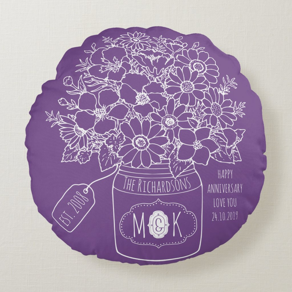 Monogram Wildflowers Bouquet Mason Jar Hand-Drawn Round Pillow