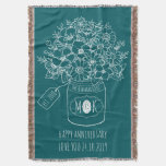 Monogram Wildflowers Bouquet Mason Jar Hand-Drawn Throw Blanket