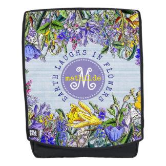 Monogram Wildflowers Vintage Purple Yellow Flowers Backpack