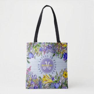 Monogram Wildflowers Vintage Victorian Flowers Tote Bag