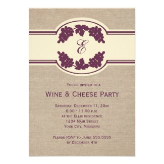Monogram Wine and Cheese Party Invitations
