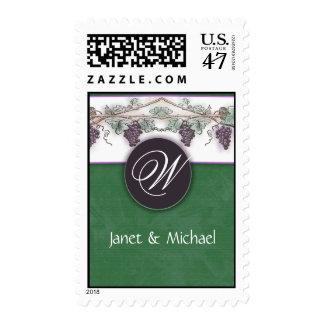 Monogram wine grapes design postage