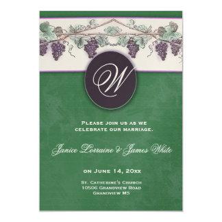 Monogram wine grapes invitation
