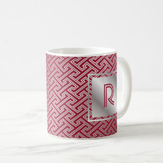 Monogram Wine Red Silver Interlocking Pattern Coffee Mug