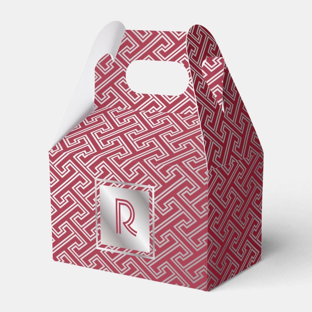 Monogram Wine Red Silver Interlocking Pattern