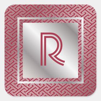 Monogram Wine Red Silver Interlocking Pattern Square Sticker