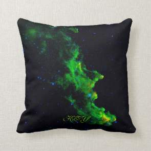 Monogram, Witch Head Nebula deep space image Throw Pillow