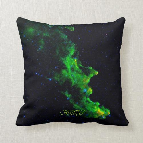 Monogram, Witch Head Nebula deep space image Throw Pillow