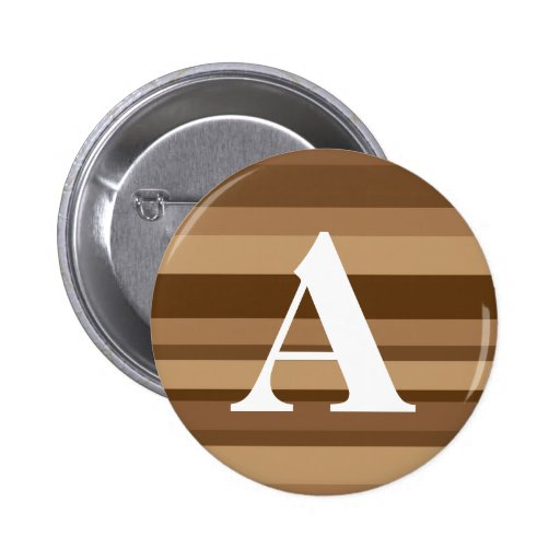 Monogram with a Colorful Striped Background - A 2 Inch Round Button