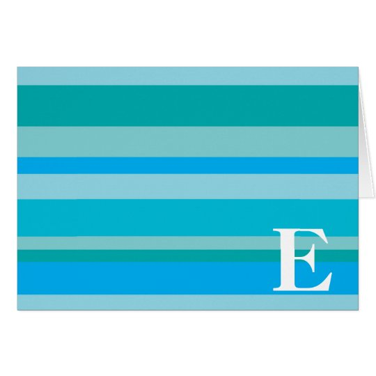 Monogram with a Colorful Striped Background - E Card