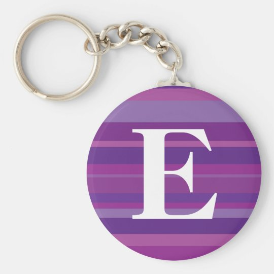 Monogram with a Colorful Striped Background - E Keychain