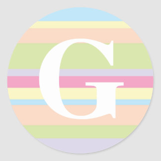 Monogram with a Colorful Striped Background - G Classic Round Sticker