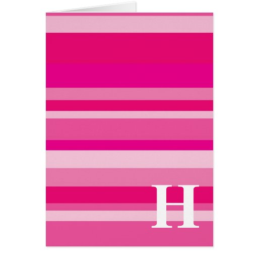 Monogram with a Colorful Striped Background - H Card