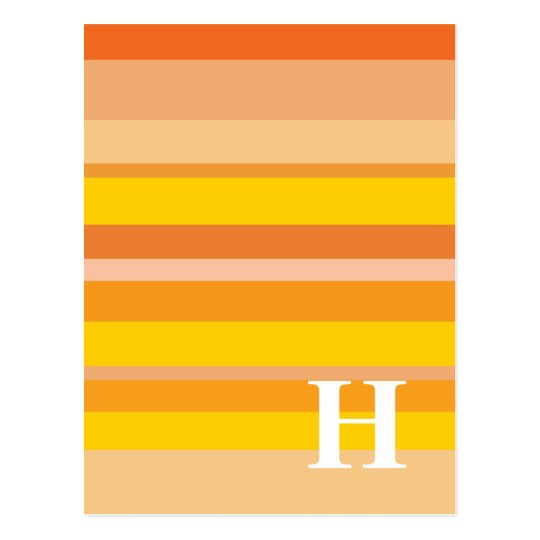 Monogram with a Colorful Striped Background - H Postcard