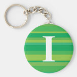 Monogram with a Colorful Striped Background - I Keychains