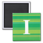 Monogram with a Colorful Striped Background - I Fridge Magnet