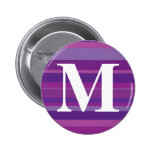 Monogram with a Colorful Striped Background - M Pinback Button