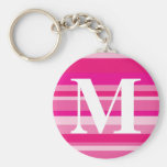 Monogram with a Colorful Striped Background - M Keychain