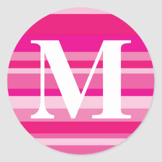 Monogram with a Colorful Striped Background - M Classic Round Sticker