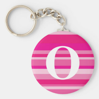 Monogram with a Colorful Striped Background - O Keychain