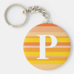 Monogram with a Colorful Striped Background - P Keychains