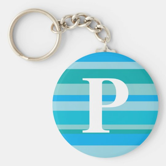 Monogram with a Colorful Striped Background - P Keychain